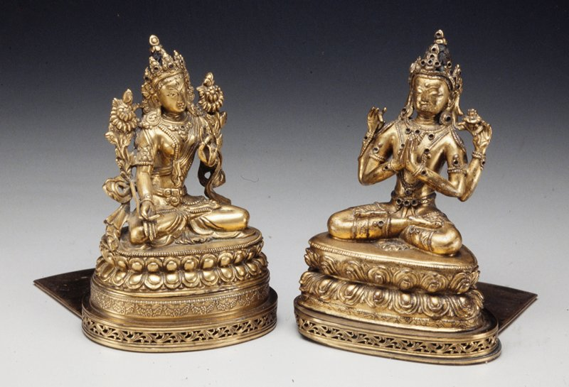 Bodhisattvas in gilt bronze mounted as bookends