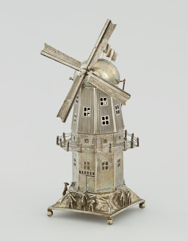 spice box in the form of a windmill with moving vanes and flag