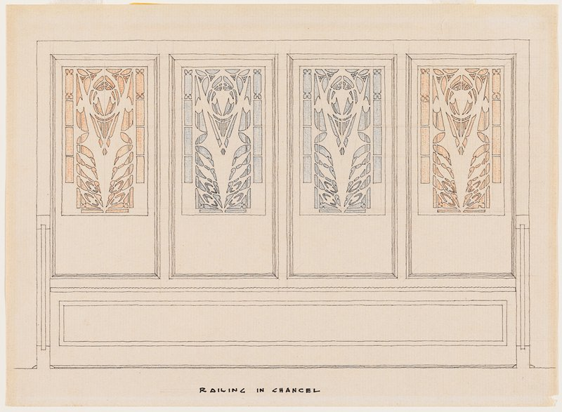 drawing of architectural detail of screen with four Prairie School-style ornamental panels; two panels in center highlighted in blue, two outer panels highlighted in orange
