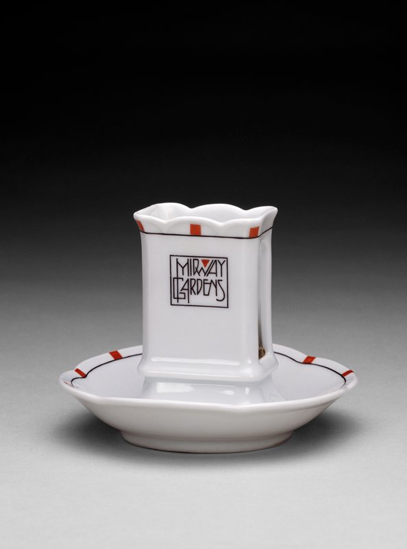 white porcelain body with trademark Frank Lloyd Wright red squares around the perimeter, stylized writing within a square on match holder: 'Midway Gardens'