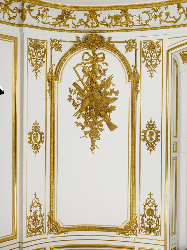 painted and giltwood, plaster, marble and iron