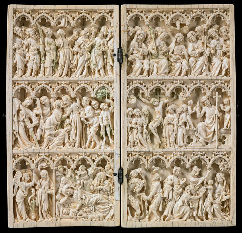 six scenes from the life of Christ; bottom row the Annunciation, Nativity and Adoration of the Magi; middle row Betrayal of Christ by Judas, the Crucifixion, the Resurrection; top row Ascension and Pentecost