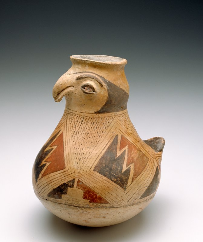 Bird Effigy Pot,polychrome earthenware,Mexico Casas Grandes,XIIc. Red, black, and brown on cream slip, coffee bean eyes, upturned tail, parrot beak