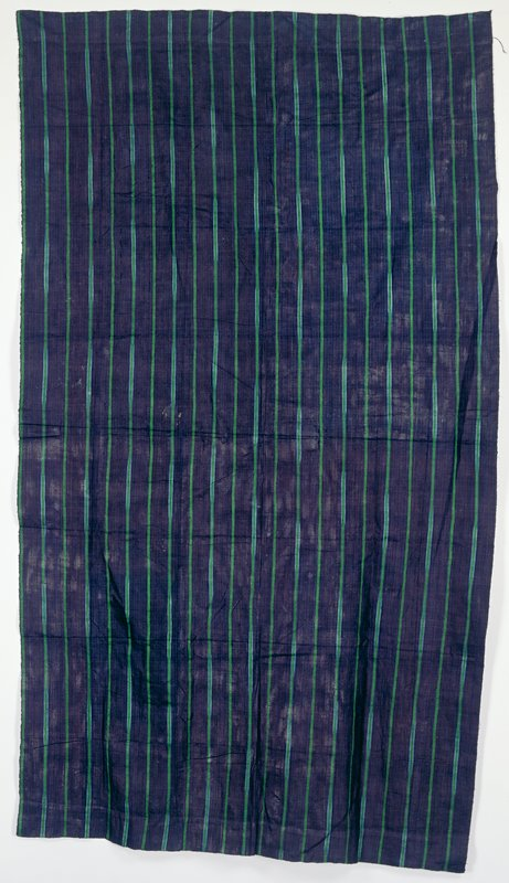woven panel; indigo ground; green stripes