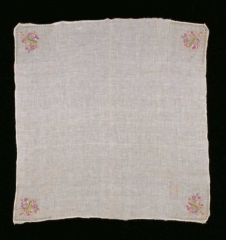 off-white fine gauze with floral embroidery at 4 corners