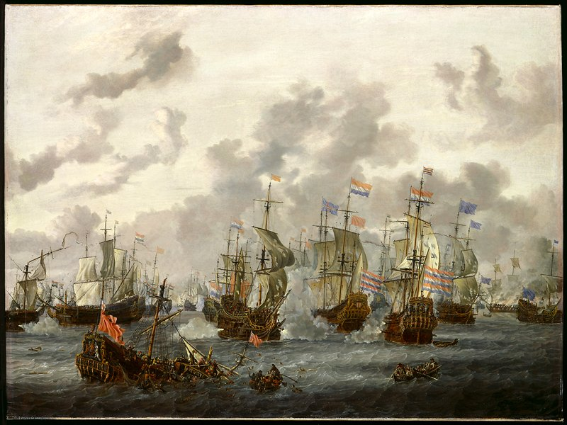 Dutch and English battle at sea