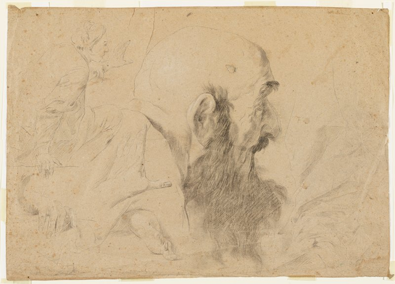 recto: head of a bald man with long dark moustache, beard and eyebrows, in profile from PR, at center; drapery studies at right (very light); seated figure study, ULC; two studies of hands and one of foot, LRQ; verso not examined (received framed)