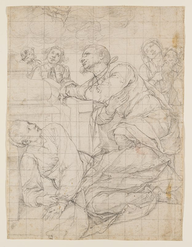 reclining woman in foreground, leaning on her PR elbow, looking up at a man who kneels, looking up, behind her; four other figures also looking up in background; clouds, ULQ; squared off in a grid