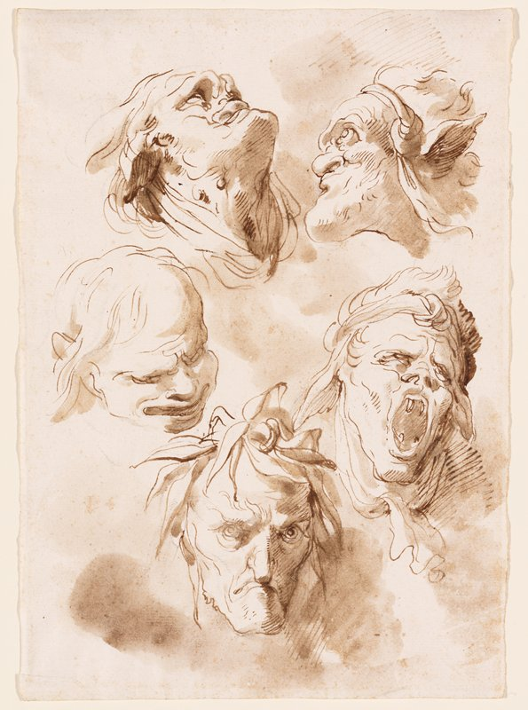 five heads in a circle; head in lower right has mouth open with long fangs; frowning face with long nose at bottom center; grimacing balding head in lower left; compacted face in ULC, with head looking up; head with very large chin in profile, URC