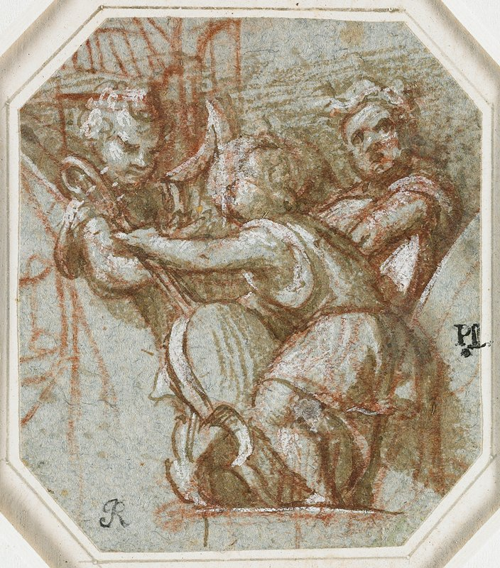 mounted to ivory paper with grey border; three putti; foremost putti holds a cello