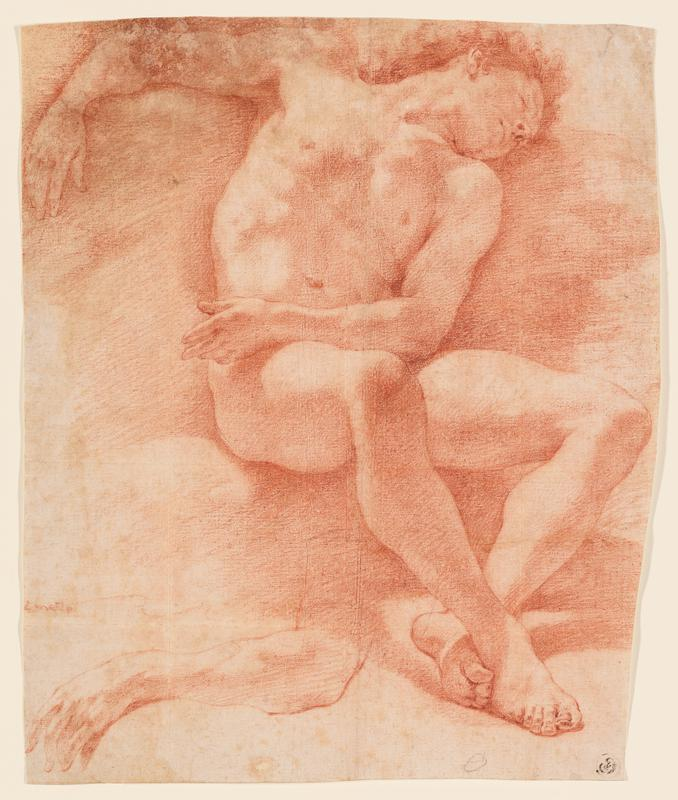 seated nude male with long curly hair; PL arm across lap, PR arm resting on top of backrest, head lying to backrest, leaning back to PL, ankles crossed; study of an arm in LLQ
