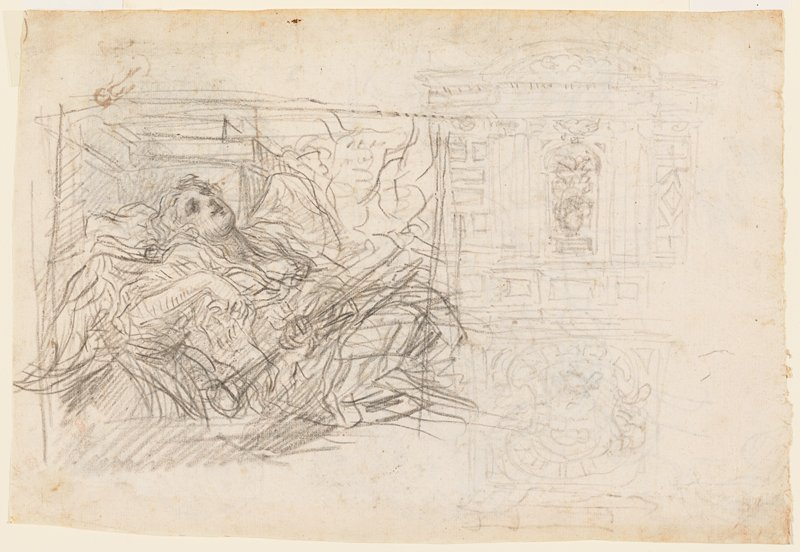 sketched studies; torso and head of reclining winged female with a horn (?) at left; lighter sketches of architectural elements at right; verso not examined--received framed