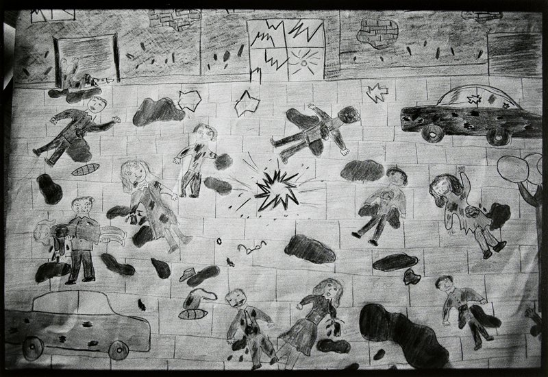 child's drawing of bomb exploding