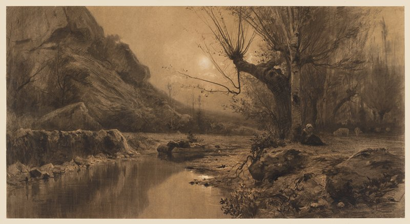 landscape with river and woman sitting under a tree on R