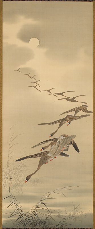 central image of 12 flying geese with moon in background; purple & gold band at top & bottom; brown-gold border around image; orange-gold band with bird pattern at top & bottom; two hanging purple & gold strips at top
