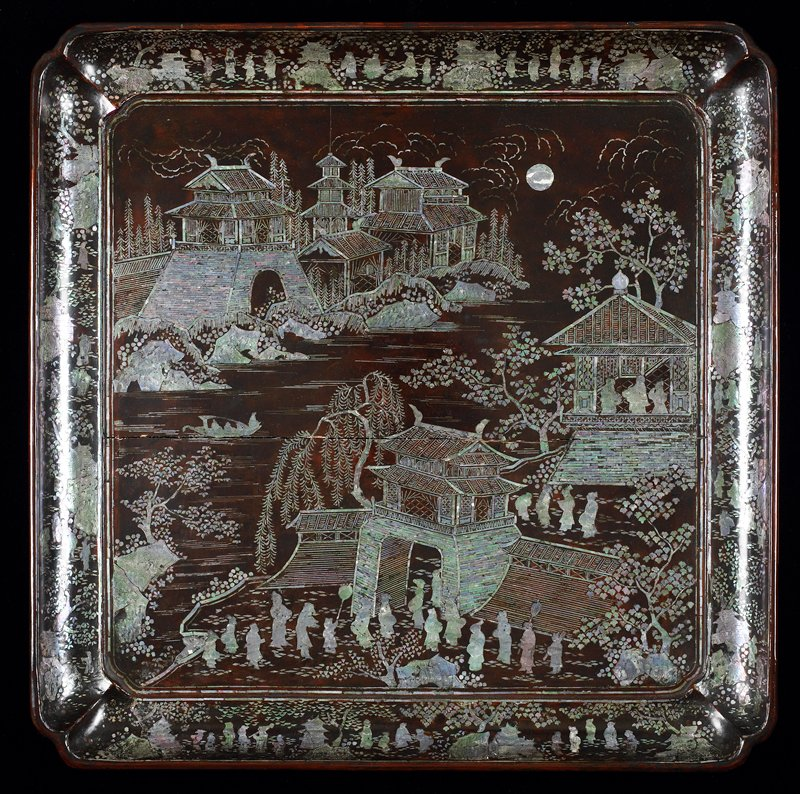 black lacquer with mother-of-pearl inlay; Kang-Shi Period