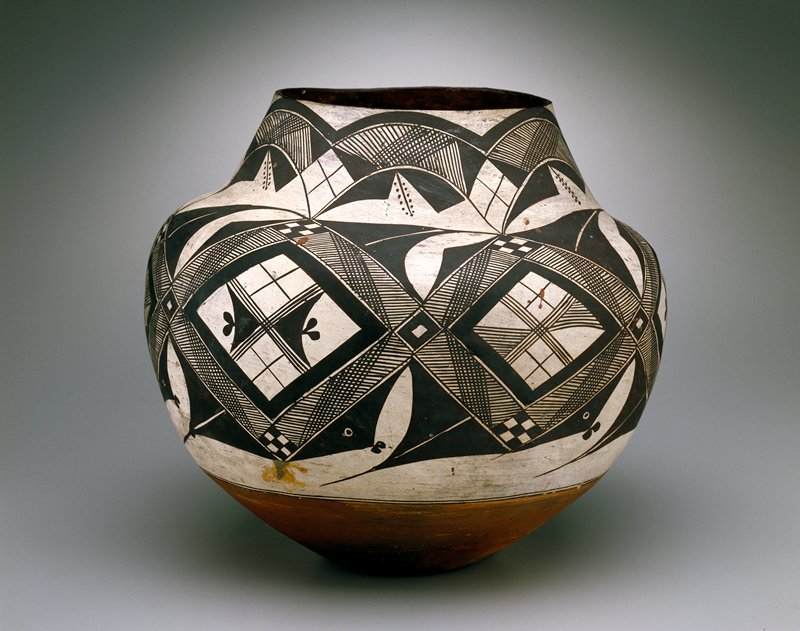 Large vessel painted with black and white geometric designs
