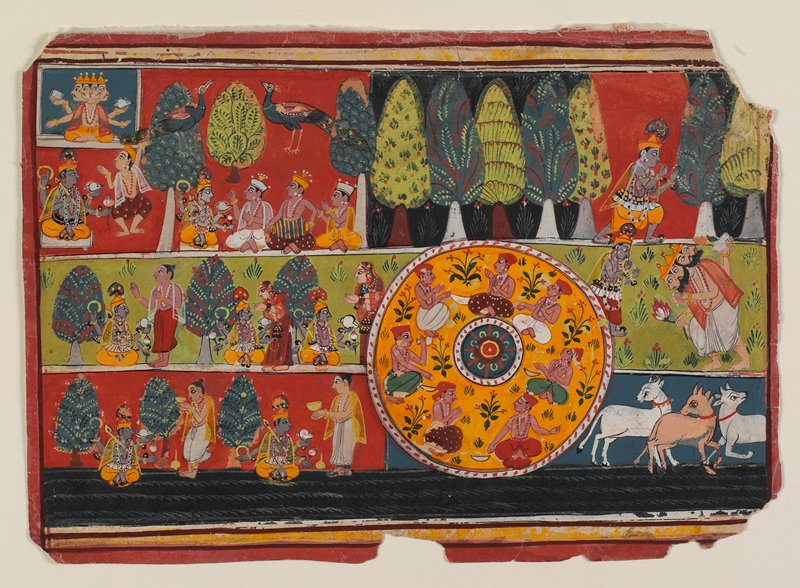 Illustration from the Bhagavata Purana; a compartmentalized painting illustrating various scenes with Krishna