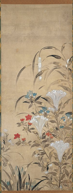 dense cluster of foliage with red flowers and a tiger lily at bottom; groupings of white flowers near center; arching foliage with a few light blue leaves and hanging white flowers above; ivory roller ends