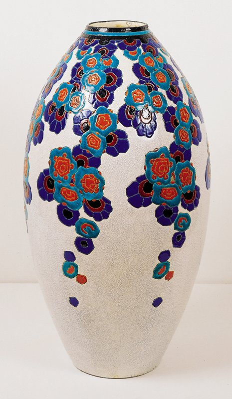 White with purple blue and red flowers cascading down the sides