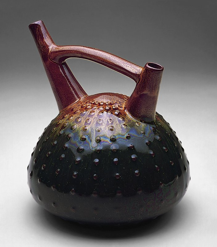 Ceramic, golden-brown and green glaze