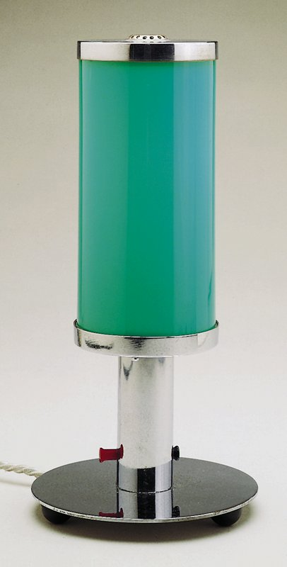 Round base with aqua colored glass