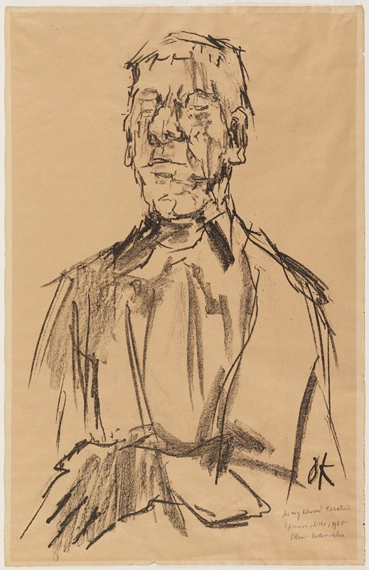 head and upper body of man with large nose; sketchy style; man's PL arm across his stomach with PL hand in LRC