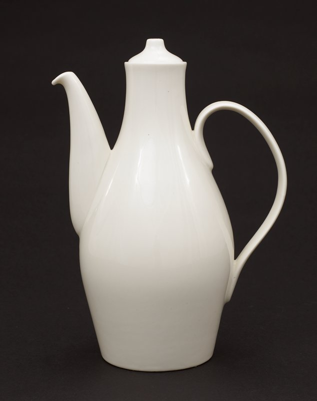 Cream colored coffeepot with bulbous body narrowing at the top