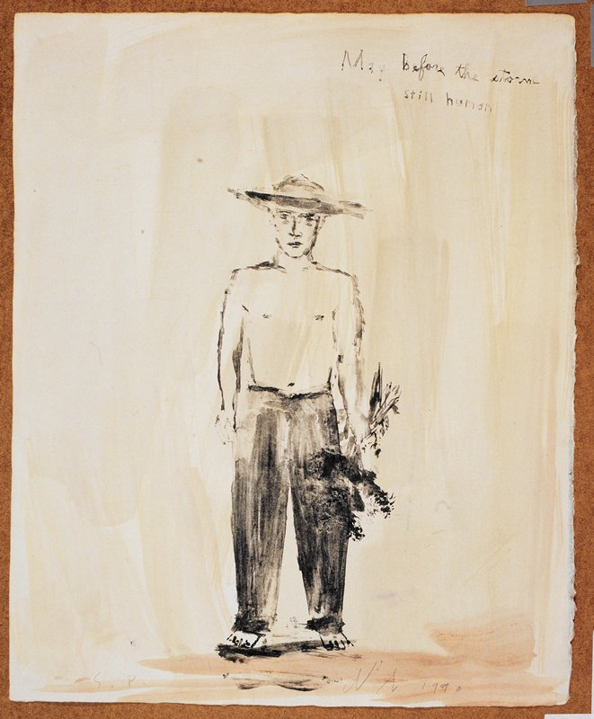 """Full length portrait of a man in a wide rimmed hat, clothed from the waist down; he holds a bushel of flowers in his PL hand and faces the viewer; the words """"May before the storm"""" inscribed, UR; grey and green background"""