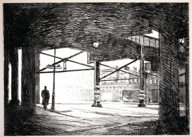 View of a street and sidewalk seen from beneath an elevated platform; a man in the L middleground has his back to the viewer; a heavy shadow in foreground is cast from overhead platform