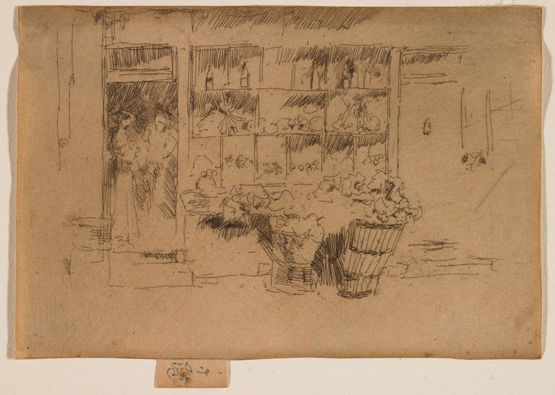 Storefront, with 2 figures in the doorway, one holding a baby