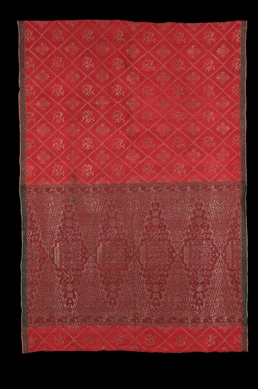 two panels sewn at center; metallic thread brocade creates supplementary weft pattern; two different patterns--rose pink and bordeaux