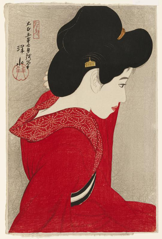 woman in red kimono seen from PR side; PL hand raised to proper left shoulder