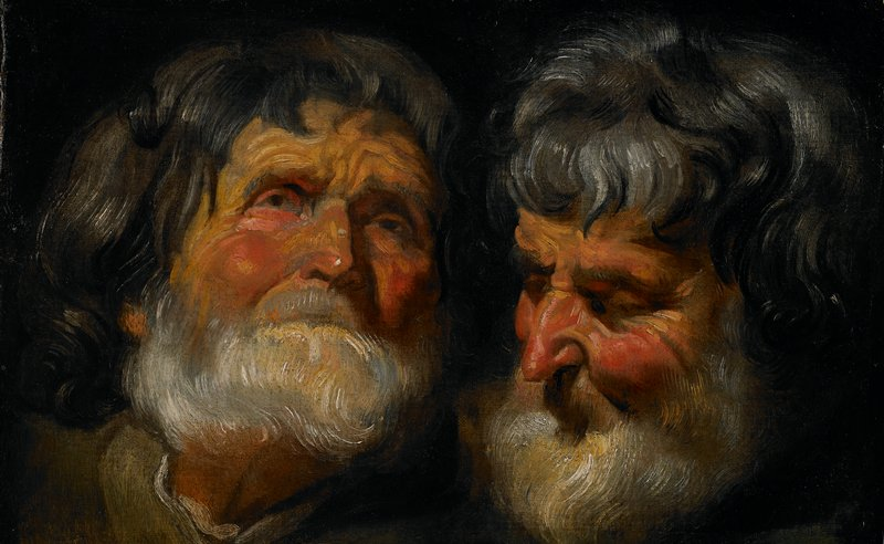 Portrait study of the head of an old man; two views