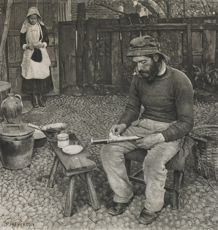 yard with seated man in foreground, wearing a hat, sweater and pants and smoking a pipe, wiping off a telescope in his lap; girl wearing black dress, bonnet and apron in ULC