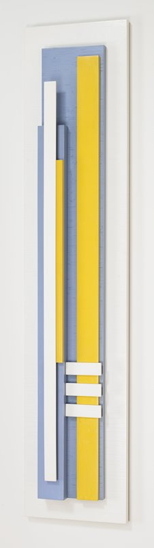 pieces of wood painted with enamel in light blue, bright yellow and white in a geometric design; painted relief