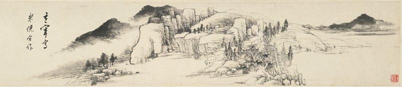 few dwelling huts in an atmospheric rocky riverside setting; in a wood case