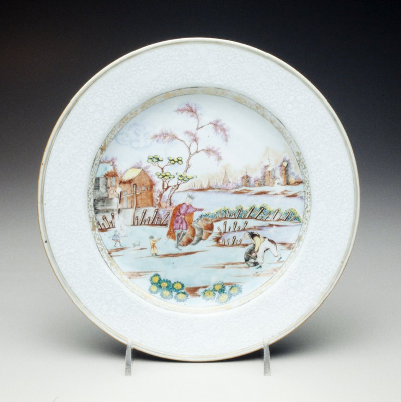 plate decoration harbor with king, after Meissen; buildings, ships and workers unloading barrels; bianco-sopra-bianco border