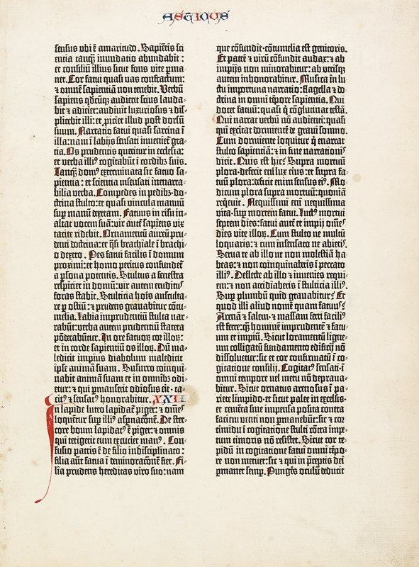 Double-sided leaf from Gutenberg's 42-line Bible, vol. 2, folio 33 (Book of Sirach). Text in Latin; Gothic type.