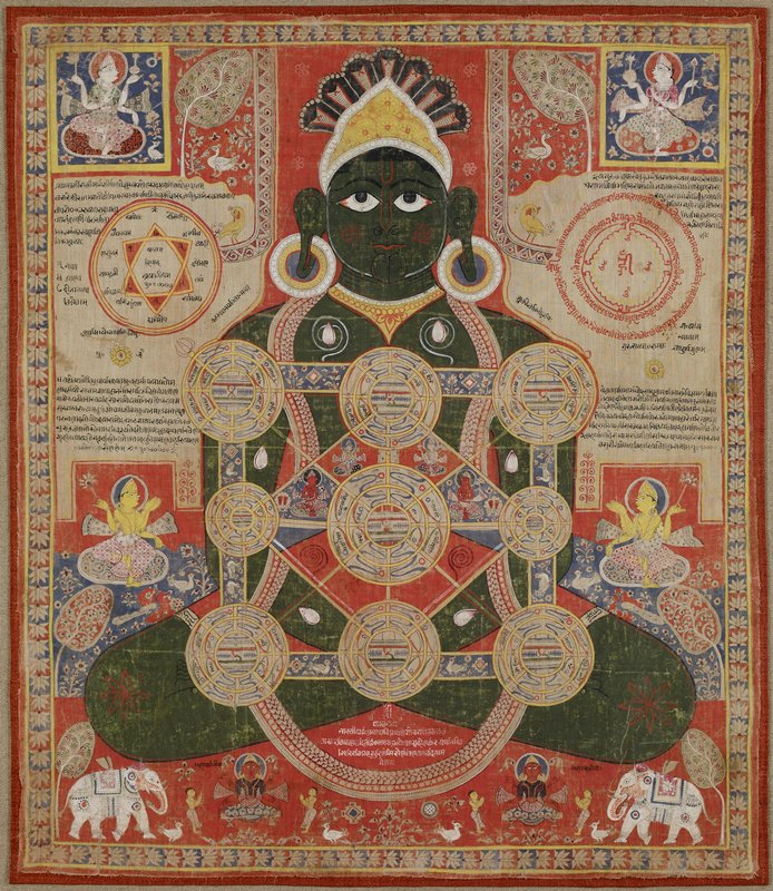 dark green complected Parsvanatha seated in the lotus posture with cosmic diagram superimposed over his body, represented by nine circles or mandalas