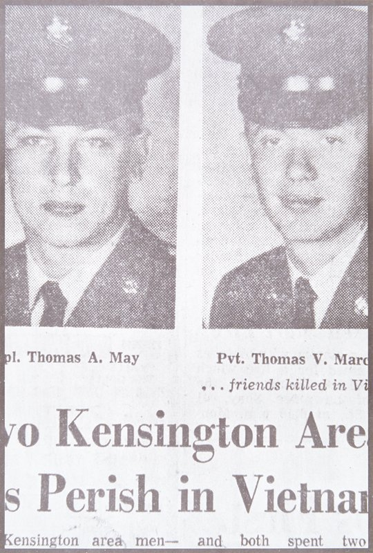 newspaper photograph of two young men in military uniforms; only 3/4 of each photograph appears in image