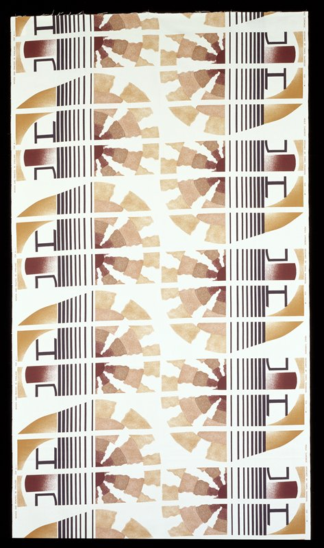 Six repeats of pattern; white ground and bands cutting through two five-banded, maroon to tan, circles; eight increasing in size and space black stripes cut throughout side of two circles