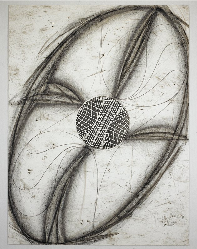 Sculptural abstraction featuring an elliptical object that fills most of the picture plane; a circle in its center consists of interweaving lines; heavier lines around the object's center spiral outwards towards its border