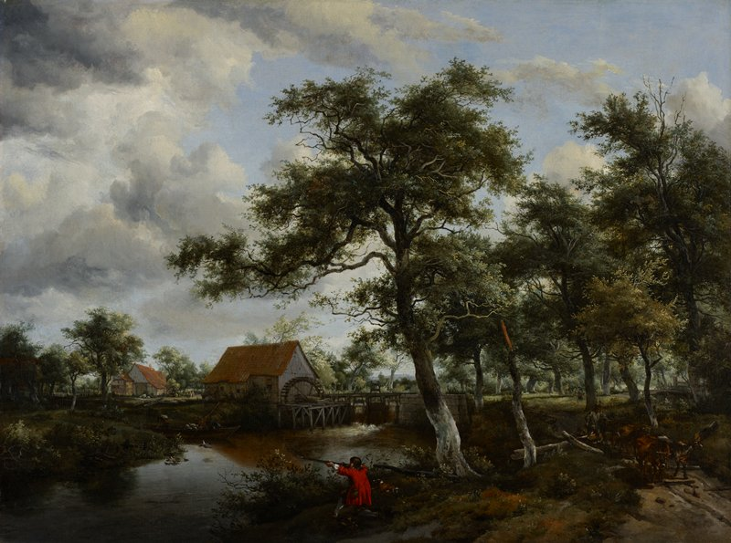 Wooded landscape with watermill, on the right bank of stream to left of center, a huntsman in a scarlet coat. Beyond the mill in left background, a tile-roofed cottage. To the right a herdsman with cattle in a road. The scene is the same as that in the Louvre (2404) painting in which the mill is seen from side. The figures are attributed to Lingelbach. Frame 84.32, c.1650, Dutch ebonized fruitwood ripple frame, 42 x 49 in. Purchased from Paul Mitchell, London. The William Hood Dunwoody Fund