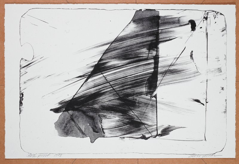 Large triangle filled in with heavy black brushstrokes; lightly drawn triangle behind it, on R