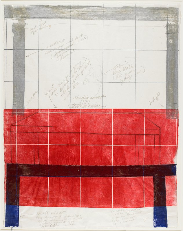 Large square grid partially covered by red rectangle in LL and LRQs; silver horizontal and vertical stripes along upper margin; blue horizontal and vertical stripes along bottom margin; annotations throughout