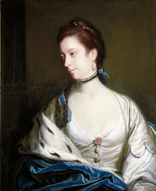 Portrait of a seated woman head turned to her proper right looking downward at an angle, she wears a white dress with two red jewels at center of dress associated with two strands of pearls and one larger central pearl, a blue cape drapes over proper right shoulder and covers lap.