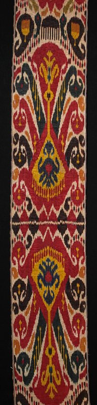 """long silk ikat panel; red/black/navy/gold/tan; top 31"""" are a second piece sewn on"""