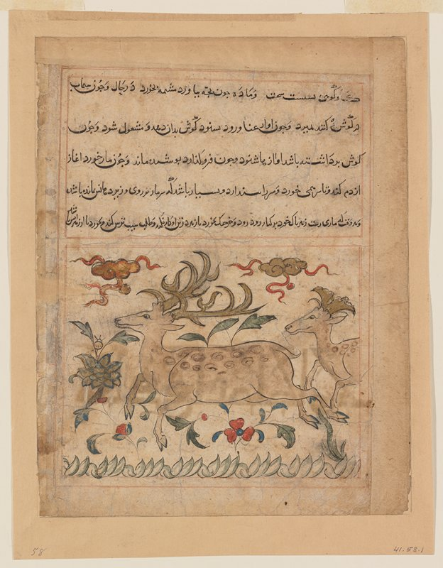 Miniature, 'The Stag' with inscription and page-long overleaf. Painted shortly after the Mongol invasion, the Chinese influence is strong in the treatment of the clouds above the stags, and in certain details of the flowers. The page is from a dispersed Manafi al-Hayavan (on the uses derived from animals). The painting is the counterpoint to Byzantine painting.