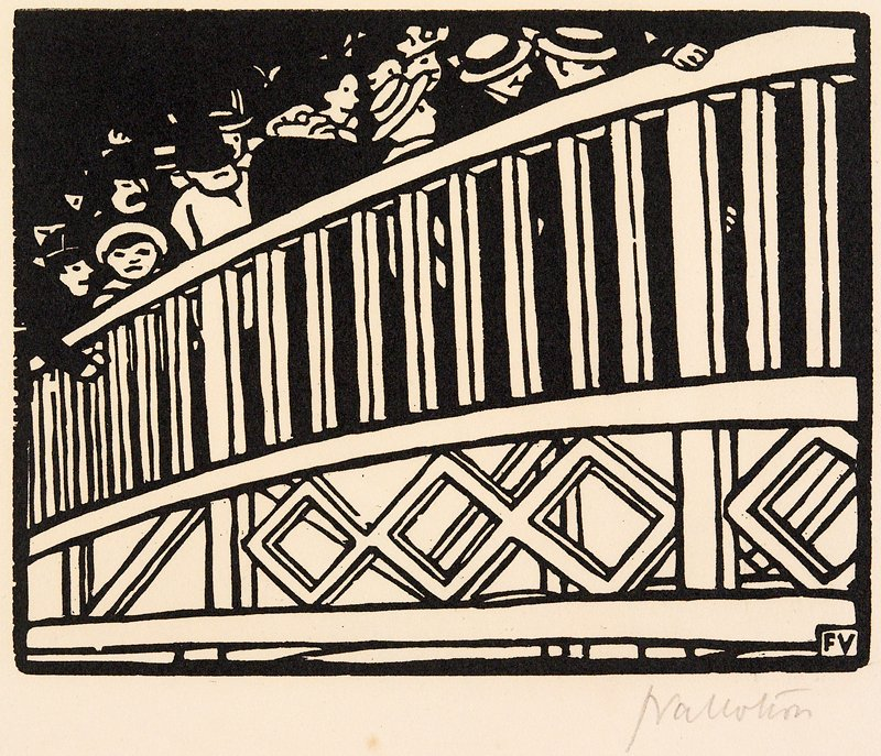 Plate I group of 6 woodcuts matted together; a: people standing behind a railing; b: crowd in a station; c: crowd and animals in front of stairs, in wind and rain; d: people walking behind a curtain being parted by a man in a fez accompanied by a man playing a horn; e: crowd of people with little girl in front; f: faces of crowd with fireworks overhead